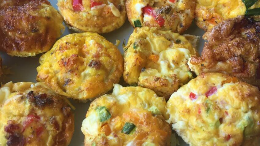 Scrambled breakfast egg muffins ready-to-eat