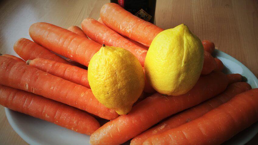 Carrot, lemon, olive oil ingredients