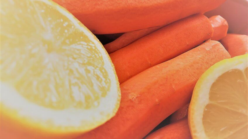 Carrot and lemon ingredients